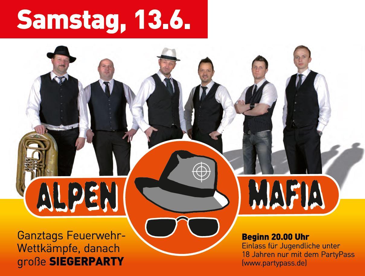 Kreisfeuerwehrtag Erolzheim KFT2015 Programm Samstag Siegerparty Alpen Mafia