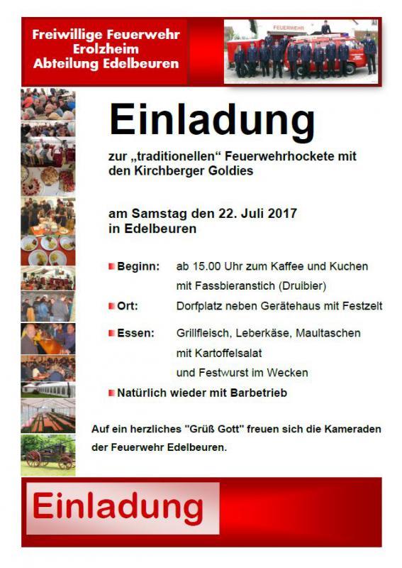 Einladung Zur Traditionellen Feuerwehrhockete In Edelbeuren
